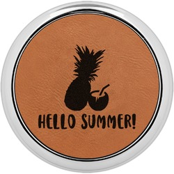 Pineapples and Coconuts Leatherette Round Coaster w/ Silver Edge - Single or Set (Personalized)