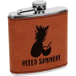 Pineapples and Coconuts Leatherette Wrapped Stainless Steel Flask (Personalized)