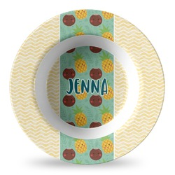 Pineapples and Coconuts Plastic Bowl - Microwave Safe - Composite Polymer (Personalized)