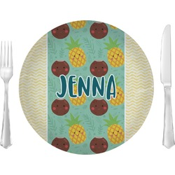 """Pineapples and Coconuts 10"""" Glass Lunch / Dinner Plates - Single or Set (Personalized)"""