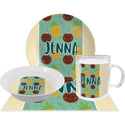 Pineapples and Coconuts Dinner Set - Single 4 Pc Setting w/ Name or Text