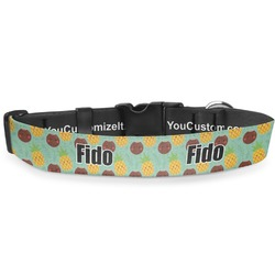 Pineapples and Coconuts Deluxe Dog Collar (Personalized)