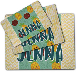 Pineapples and Coconuts Dog Food Mat w/ Name or Text