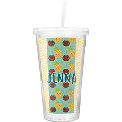 Pineapples and Coconuts Double Wall Tumbler with Straw (Personalized)