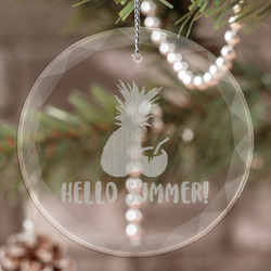 Pineapples and Coconuts Engraved Glass Ornament (Personalized)