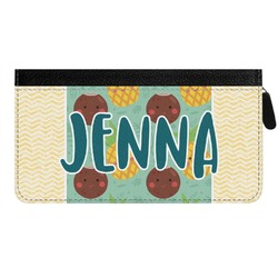 Pineapples and Coconuts Genuine Leather Ladies Zippered Wallet (Personalized)