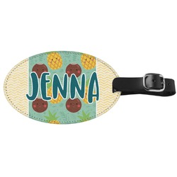 Pineapples and Coconuts Genuine Leather Oval Luggage Tag (Personalized)