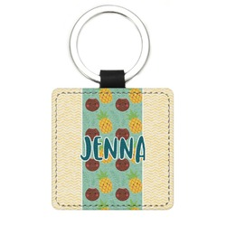 Pineapples and Coconuts Genuine Leather Rectangular Keychain (Personalized)