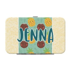 Pineapples and Coconuts Genuine Leather Small Framed Wallet (Personalized)