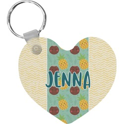 Pineapples and Coconuts Heart Keychain (Personalized)