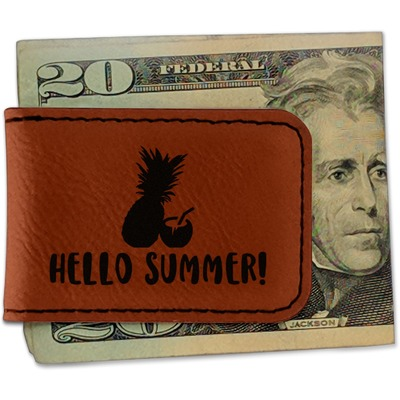Pineapples and Coconuts Leatherette Magnetic Money Clip (Personalized)