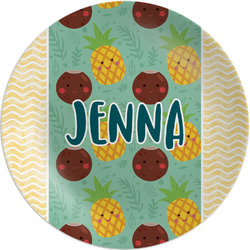 """Pineapples and Coconuts Melamine Plate - 8"""" (Personalized)"""