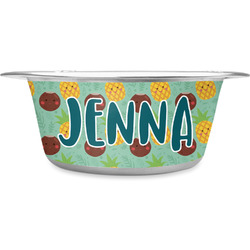 Pineapples and Coconuts Stainless Steel Pet Bowl (Personalized)