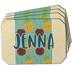 Pineapples and Coconuts Dining Table Mat - Octagon w/ Name or Text