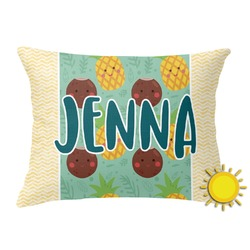 Pineapples and Coconuts Outdoor Throw Pillow (Rectangular) (Personalized)
