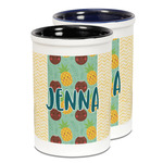 Pineapples and Coconuts Ceramic Pencil Holder - Large