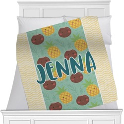 """Pineapples and Coconuts Fleece Blanket - Queen / King - 90""""x90"""" - Double Sided (Personalized)"""
