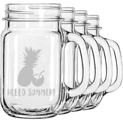 Pineapples and Coconuts Mason Jar Mugs (Set of 4) (Personalized)