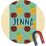 Pineapples and Coconuts Round Fridge Magnet (Personalized)