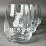 Pineapples and Coconuts Stemless Wine Glasses (Set of 4) (Personalized)