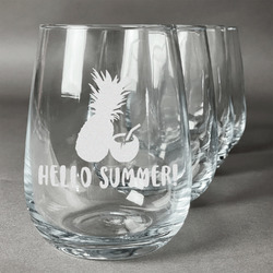 Pineapples and Coconuts Wine Glasses (Stemless- Set of 4) (Personalized)