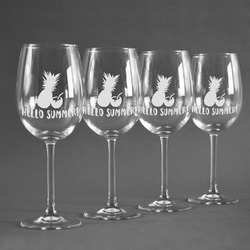 Pineapples and Coconuts Wine Glasses (Set of 4) (Personalized)