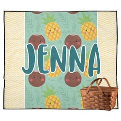 Pineapples and Coconuts Outdoor Picnic Blanket (Personalized)