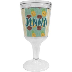 Pineapples and Coconuts Wine Tumbler - 11 oz Plastic (Personalized)