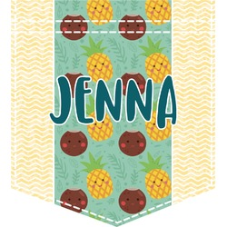 Pineapples and Coconuts Iron On Faux Pocket (Personalized)