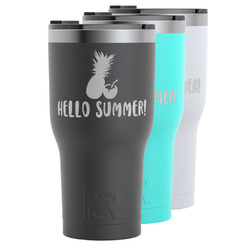 Pineapples and Coconuts RTIC Tumbler - Black (Personalized)