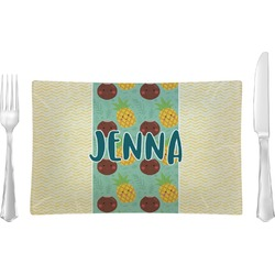 Pineapples and Coconuts Rectangular Glass Lunch / Dinner Plate - Single or Set (Personalized)