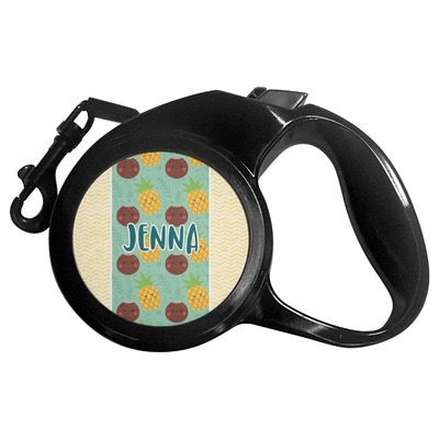 Pineapples and Coconuts Retractable Dog Leash (Personalized)