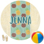 Pineapples and Coconuts Round Beach Towel (Personalized)