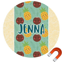Pineapples and Coconuts Round Car Magnet (Personalized)