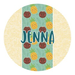 Pineapples and Coconuts Round Decal (Personalized)