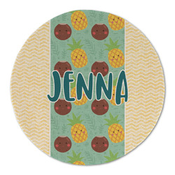 Pineapples and Coconuts Round Linen Placemat (Personalized)