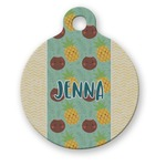 Pineapples and Coconuts Round Pet Tag (Personalized)