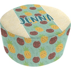 Pineapples and Coconuts Round Pouf Ottoman (Personalized)
