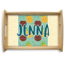 Pineapples and Coconuts Natural Wooden Tray (Personalized)