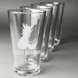 Pineapples and Coconuts Beer Glasses (Set of 4) (Personalized)