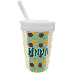 Pineapples and Coconuts Sippy Cup with Straw (Personalized)