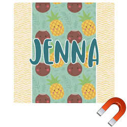 """Pineapples and Coconuts Square Car Magnet - 6"""" (Personalized)"""