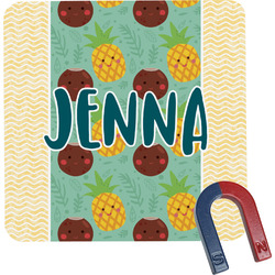 Pineapples and Coconuts Square Fridge Magnet (Personalized)
