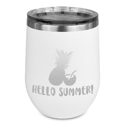 Pineapples and Coconuts Stemless Wine Tumbler - 5 Color Choices - Stainless Steel  (Personalized)