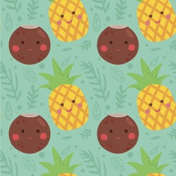 Pineapples and Coconuts Wallpaper & Surface Covering