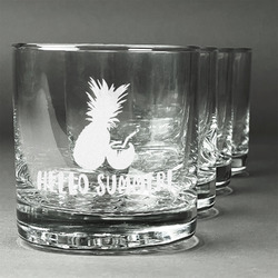 Pineapples and Coconuts Whiskey Glasses (Set of 4) (Personalized)