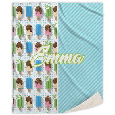 Popsicles and Polka Dots Sherpa Throw Blanket (Personalized)