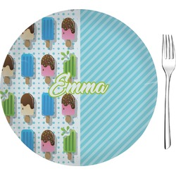 """Popsicles and Polka Dots 8"""" Glass Appetizer / Dessert Plates - Single or Set (Personalized)"""