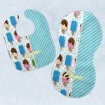 Popsicles and Polka Dots Baby Bib & Burp Set w/ Name or Text