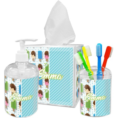 Popsicles and Polka Dots Acrylic Bathroom Accessories Set w/ Name or Text